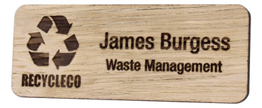 Engraved wooden name badges - Real wood name badge with engraved logo and text | www.namebadgesinternational.co.uk